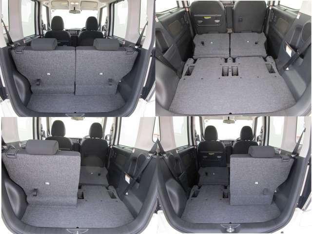 開口部の広い荷室です。荷物の大きさに応じてシートアレンジが可能です。ゴルフバックやスノーボード、クーラーボックスなどかさばるキャンプ道具も余裕で積めます。