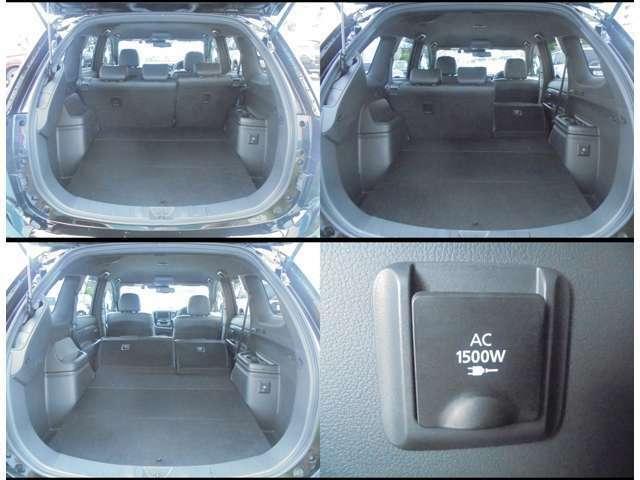 後席背もたれのアレンジで使い方はイロイロ!右サイドには100V1500W電源装備!!現状駆動用バッテリー残存率83%です。