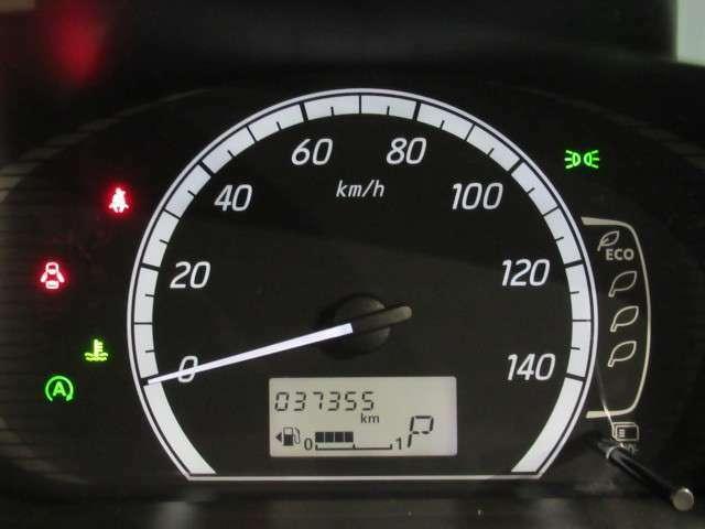 大きなメーターでとっても見やすく、平均燃費等の表示をします