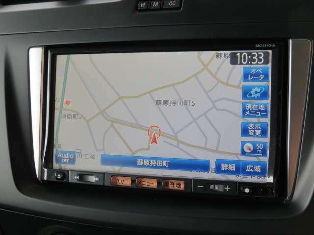 日産純正メモリーナビ(MC311D-A)装備、i-Pod接続・DVD再生・録音機能やBluetooth機器対応、フルセグ地デジTVも見れます。