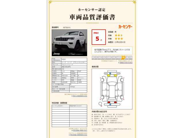 カーセンサー認定 車両品質評価書 評価点 「5」