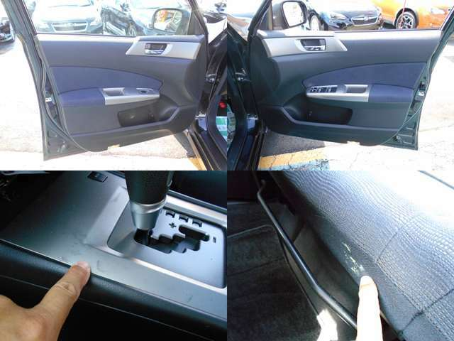 内装カラーはブラック&シルバー!!内装で気になる箇所はシフトパネルのシミ、2列目シート右座面下部の付着物です!!ご遠方にお住まい等で現車確認出来ない方は要チェックです!!!