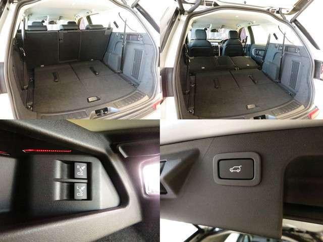ハンズフリーテールゲート(104,000円)「車体後部の両サイドに設置したセンサーにより、車に触れることなくテールゲートの開閉が可能で、2列目シートは荷室からリモコンにて倒すことが出来ます。」