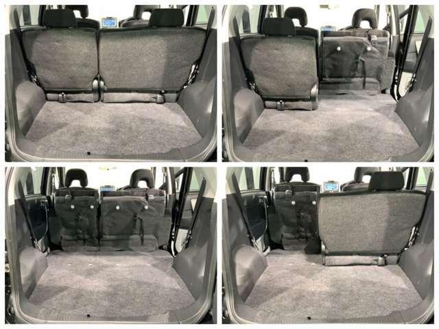 ラゲッジスペースです。リヤシートを起こせば荷室を更に広く使えます。