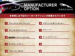 こちらの車両のメーカーオプション一覧になります。