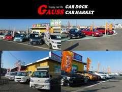 展示車のラインナップが充実。低燃費のハイブリッド車やコンパクト車。高級セダンやワンボックス車も多数展示(常時100台)