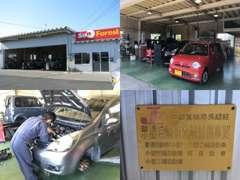 当社自社整備工場は国から認可された認証工場でございます。国家資格を持った2級整備士がお客様のお車を徹底的に整備致します!