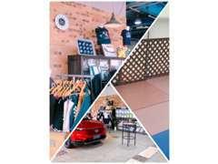 キッズコーナーやグッズ販売、お車の展示もあります。