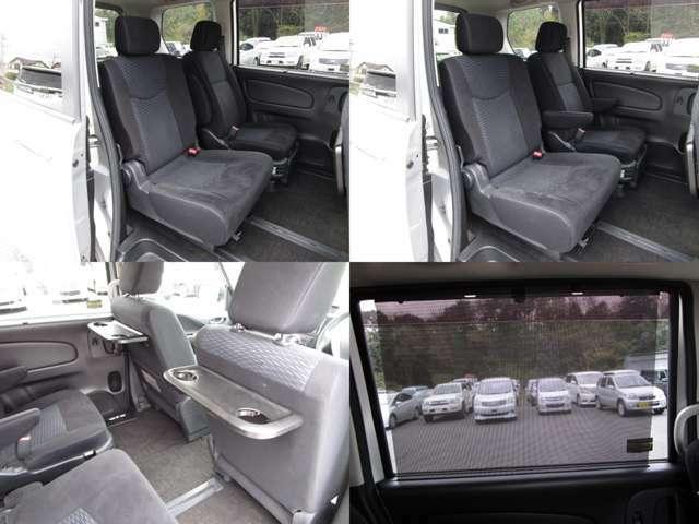 セカンドシート キャプテンシートで、フロントシート背面には可倒式カップホルダー付テーブルが付いています。 スライドドアロールサンシェイド付です。