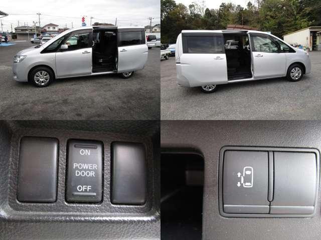左パワースライドドアで、運転席より開閉操作が可能です。 右スライドドアには半ドア防止のオートクロージャーが付いています。