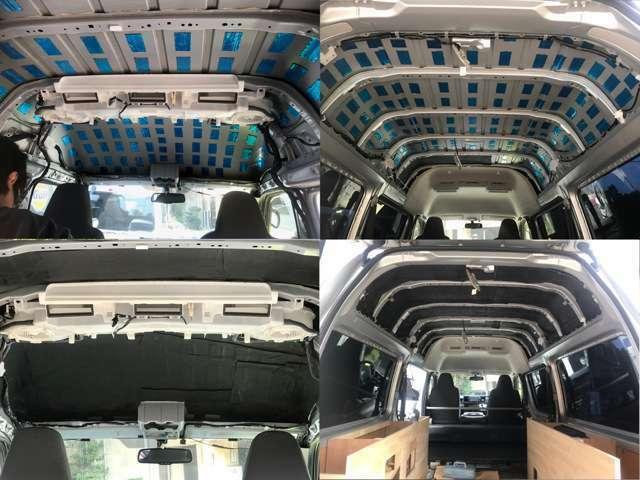 天井はデッドニング素材にて防音施工また断熱材の全面施工を施しました!