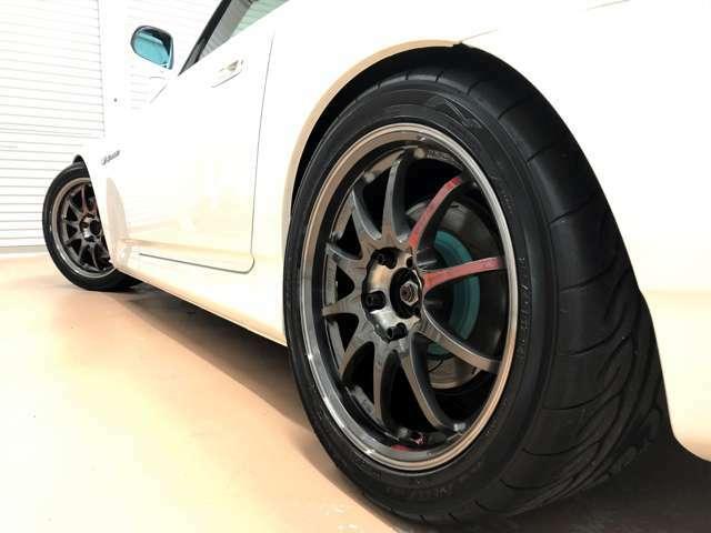 【シャシー関連カスタマイズ1】・エナペタル E12 フルオーダーメイドサスペンション・RAYS CE28SL(鍛造 17インチ)・YOKOHAMA ADVAN NEOVA AD08R・RAYS 軽量レーシングナット