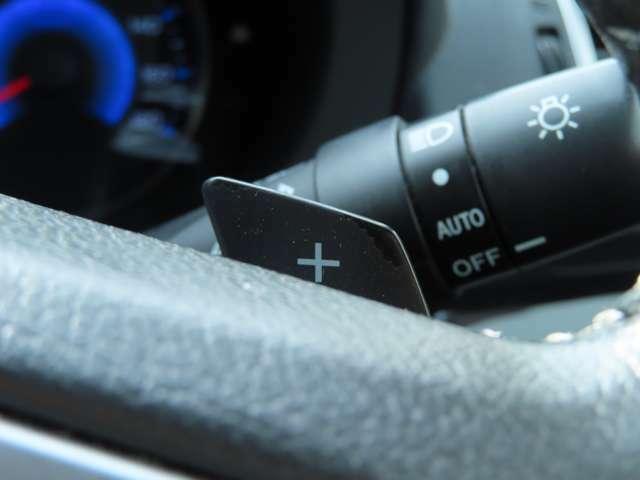 マニュアル車のようにドライバーの意志で任意で変速ができるようになるパドルシフト搭載!オートマ車でもマニュアル車のようなダイレクトなドライブフィールを味わいたい人におすすめです♪
