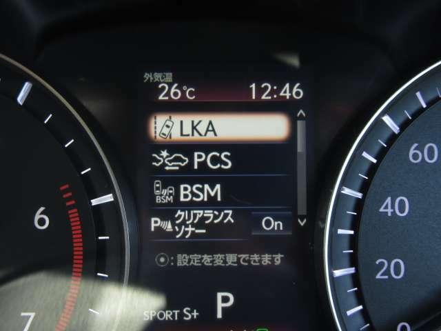 予防安全パッケージ「LexusSafetySystem+」はプリクラSS、レーンキーピングA、オートマチックハイB、全車速レーダークルーズの4つの先進安全技術をパッケージ化し多面的な安全運転支援を強化