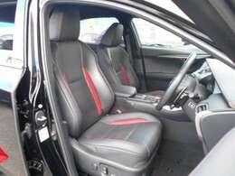 フロントの本革電動シートは、赤色のステッチやアクセントを入れた、スポーティー感あふれる、おしゃれなシートです。もちろん体をしっかり支える快適な座り心地です。