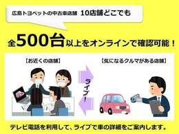 当店では広島トヨペットの中古車店舗10店舗の気になる車両500台以上をオンラインで確認出来ます。