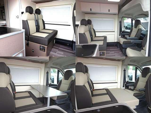 後席ソファシートと前席を回転させてリビングダイニングにも、シート間の隙間を付属のクッションで埋めて簡易ベッドにもできます!