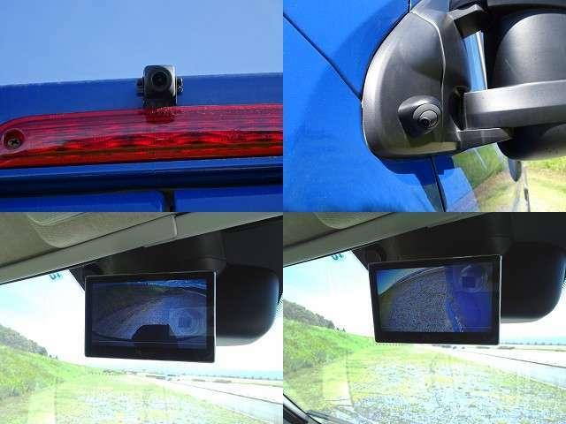 後ろと左サイドにカメラを設置。ルームミラーを液晶モニターと交換し、走行中常時表示にしてあります!