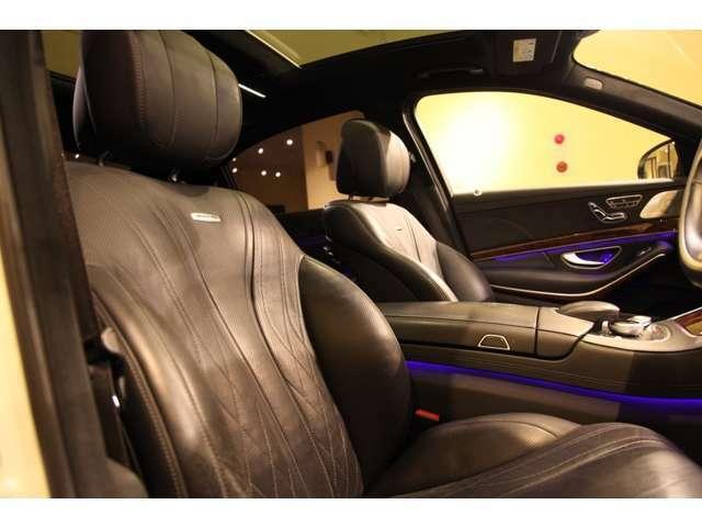 AMGスポーツシートにナッパレザーのダイヤモンドステッチがスポーティーな印象を感じますね。