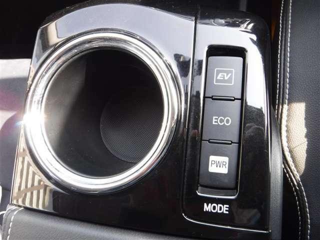走行のシーンに合わせて選べる3走行モードスイッチ。ECO、いかに燃費をアップし少ないガソリンで走るか・EV,エンジン音が気になる早朝や深夜走行に。