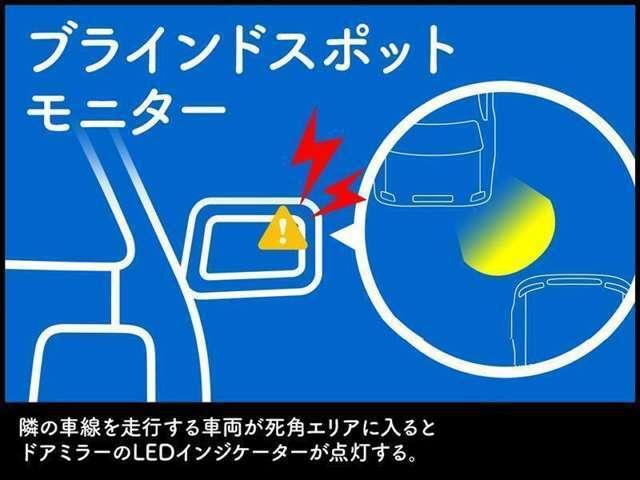 BSM(ブラインドスポットモニター)は、レーダーセンサーにより、隣の車線のドアミラーに映らない領域(死角領域)を併走する車両を検知し、ドアミラーのインジケーターによって車両の存在を知らせます。