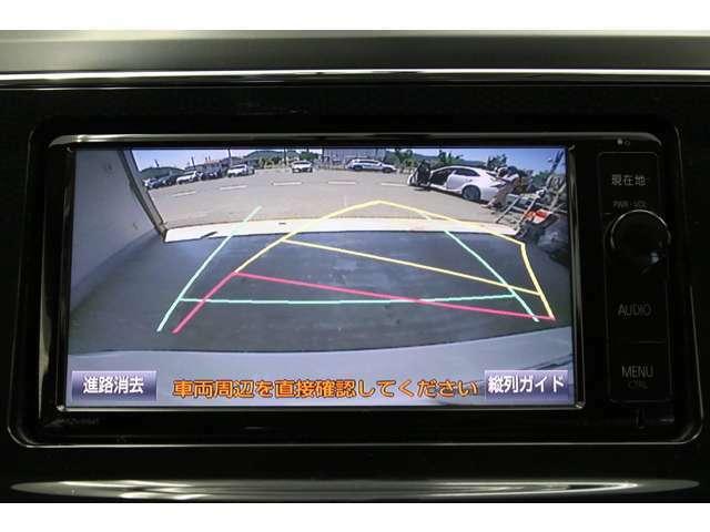 もちろんバックカメラも装備されております。ご安心ください。 ハンドル操作に連動して予測進路ガイドラインが動いてくれる便利なタイプです。