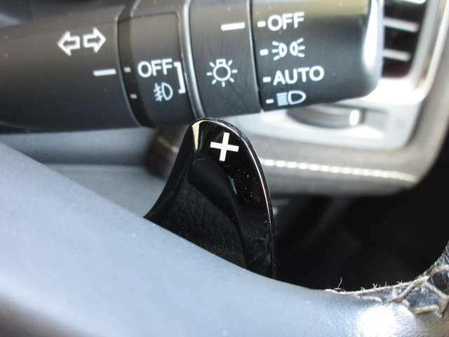 マニュアル車のような感覚で、ワインディングロードでも車を操れるマニュアルモード・パドルシフト付きです。長い下り坂でのエンジンブレーキや、高速道路の合流の際の加速も思いのままです。