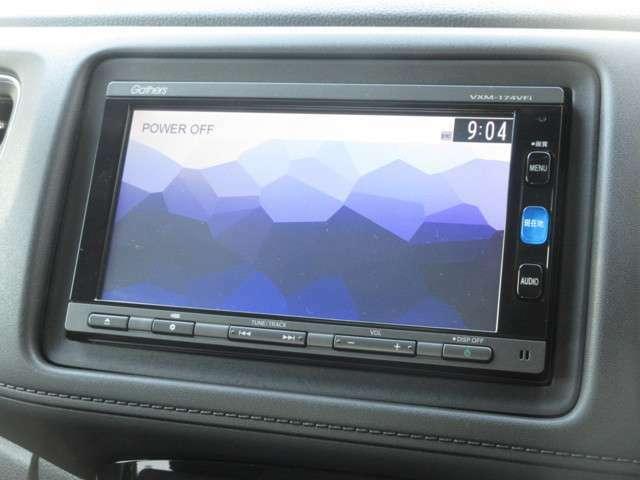 ナビゲーションはギャザズメモリーナビ(VXM-174VFi)を装着しております。AM、FM、CD、DVD再生、Bluetooth、フルセグTVがご使用いただけます。初めて訪れた場所でも道に迷わず安心ですね!