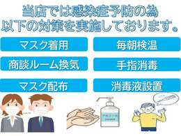 当店は商談ルーム入口、商談テーブルに消毒液設置しております。マスク無料配布しております。