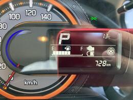 走行距離は728km。メーター内のインフォメーションディスプレーは燃費計やシフト位置などなど、色んな情報を提供致します。