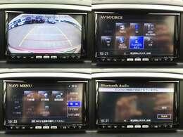 【左上】バックカメラ搭載で、サイドカメラはルームミラーに映ります  【右上&左下&右下】フルセグ地デジ、音楽録音・再生、DVD鑑賞、エコ情報など、高機能で人気のサンヨーSDナビTV