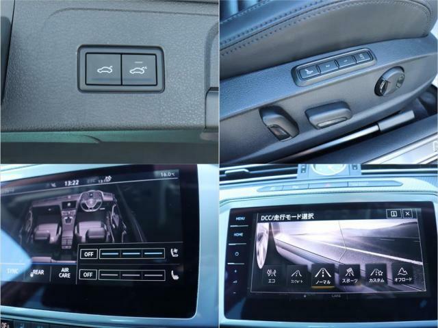 電動のテールゲートになっております。運転席はパワーシートになっており、シートメモリーなども付いております。シートクーラー、シートヒーターも付いております。道路に応じて走行モードも選択できます。