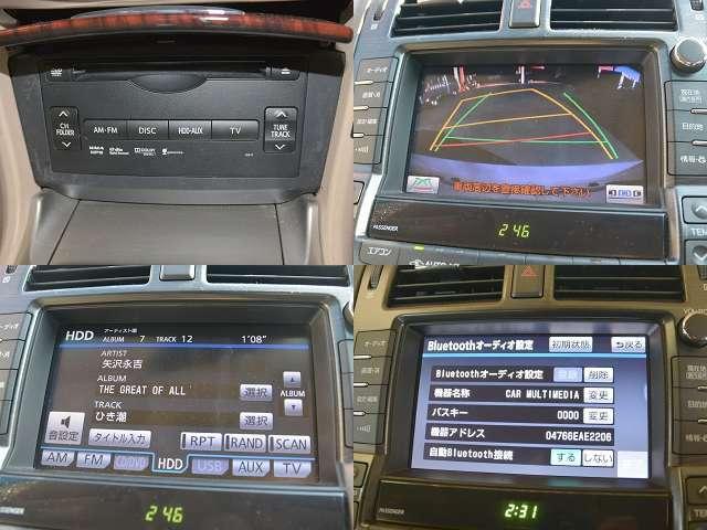 DVD再生・CDが録音出来るHDD付きです。【写真左側】 ガイドライン付きバックモニター・Bluetoothオーディオ・ハンズフリー機能も搭載しています♪【写真右側】