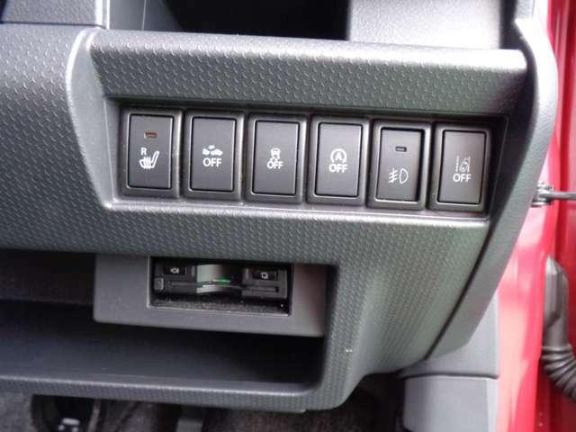 ETC到着車。その他に、運転席シートヒーター、アイドリングストップ、被害軽減ブレーキ、車線逸脱警報、横滑り防止、フォグランプが装備されてます。