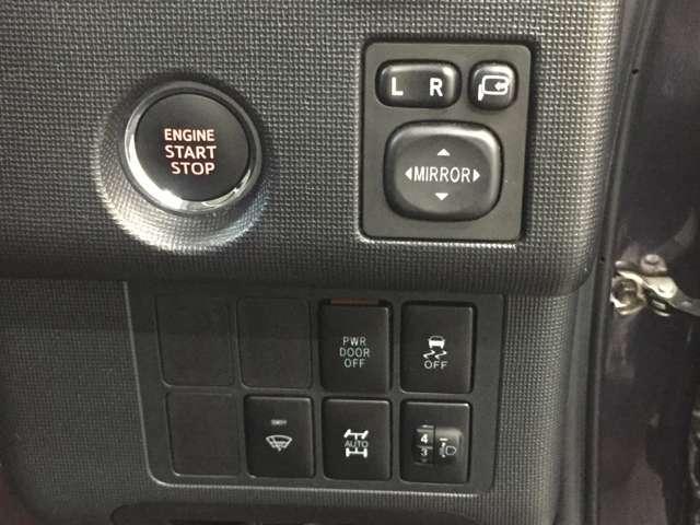 プッシュスタートスイッチ、電動格納ミラー、横滑り防止、パワースライドドアオフスイッチ、ワイパーデアイサー、4WD切り替えスイッチ