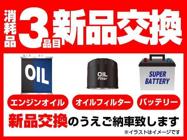 エンジンオイル、オイルフィルター、バッテリーを新品に交換してご納車させて頂きます。