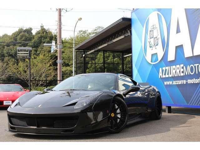 2012y フェラーリ458 イタリア 新車並行 LBワークス 鍛造20インチ EXARTマフラー (可変付) カーボンPKG LEDハンドル カロッツェリアHDDナビ 車高調 入庫しました!!