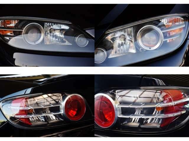 明るい白い光で視界良好なHIDヘッドライト搭載。また、コーティング、ドライブレコーダー、スモークフィルムなど、その他装備がオーダーいただければ何でもお取付致します