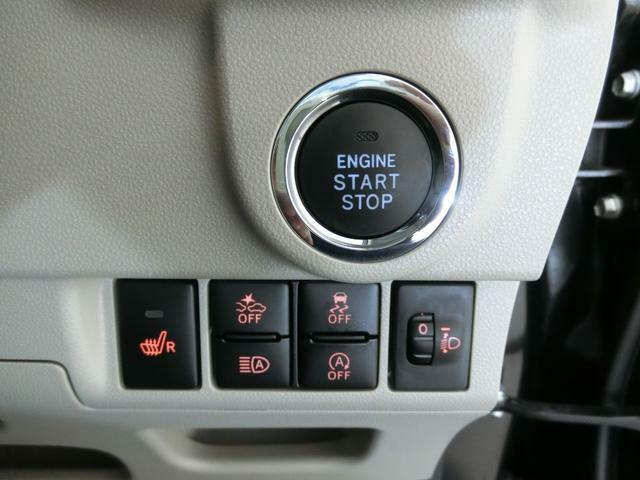 プッシュボタンでラクにエンジンスタート!アイドリングストップや、衝突被害軽減ブレーキ、横滑り防止装置の操作スイッチです。