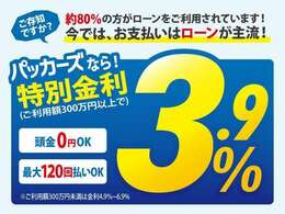 期間限定!今だけローンが低金利キャンペーン3.9%でご利用いただけます!(利用額が300万円未満の場合は4.9~6.9%です)