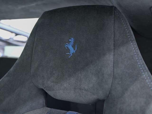 ヘッドレストの跳ね馬刺繍はブルーとなっております。