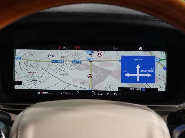 バーチャルインストゥルメントパネル『フルスクリーンの3Dマップの表示が行えます。』レンジローバーのドライビングの喜びを一層高める機能です。