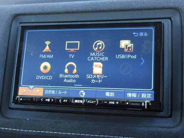 ナビゲーションはクラリオン製メモリーナビ(NX718)を装着しております。AM、FM、CD、DVD再生、Bluetooth、音楽録音再生、フルセグTVがご使用いただけます。初めて訪れた場所でも道に迷わず安心ですね!
