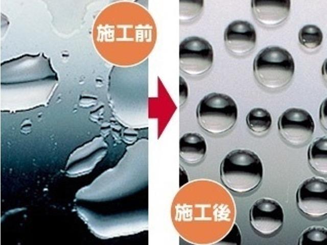 Aプラン画像:独自のコーティング技術と専用撥水ワイパーで高い撥水効果を持続します。処理した後は雨粒が水玉となってはじけ飛び、良好な視界を確保できます