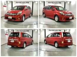 純正メモリーナビ 純正AW HIDヘッドライト ETC 両側電動スライドドア装備のトヨタの赤色のアイシス プラタナVセレクション入庫しました。
