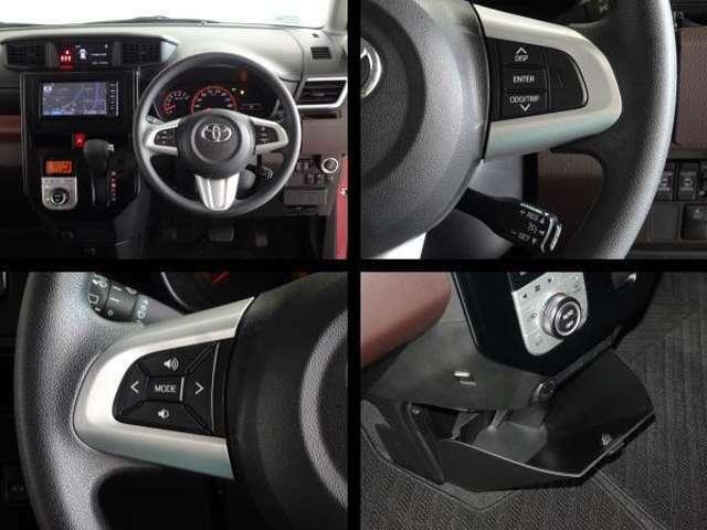 ステアリング付属のスイッチでオーディオの操作が可能です。クルーズコントロールを装備してます、長距離運転で重宝します。