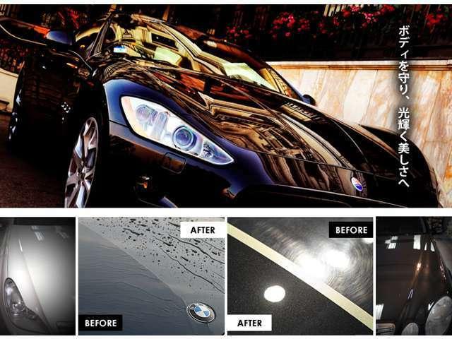 Aプラン画像:鉄粉・ピッチ・タール・樹液・鳥糞など塗装面にダメージを与えるさまざまな物質が存在するのです。そんな危険から大切な車を守り保護するのがクォーツ製プロコーティング!!