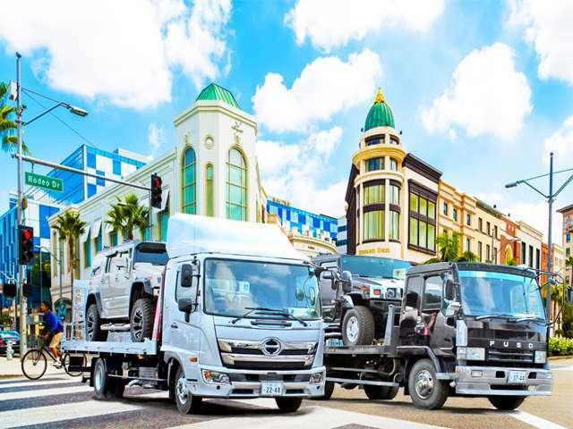 Aプラン画像:4トンワイドロング積載車2台完備!全国どこへでも納車致します。事故や故障時のレッカーもお任せ下さい。