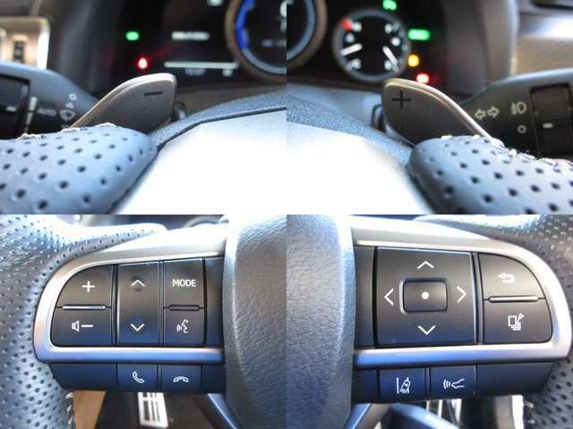 ステアリング部にてオーディオ操作・シフトチェンジが可能なパドルシフト・高速時に一定の速度での走行を可能とする追従型レーダークルーズ付です。