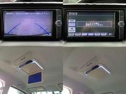 【左上&右上】フルセグTV、音楽再生、DVD再生、DS連動、BT対応、バックカメラなど高機能で人気の、純正SDナビTV  【左下&右下】LEDルームライト搭載・フリップダウンモニター